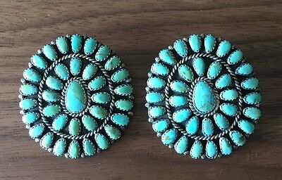 AMAZING Turquoise and Sterling Cluster Earrings By Lura (Larry) Moses Begay.