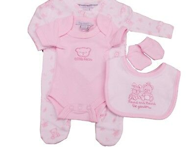 BNWT Tiny baby Premature Preemie Teddy bear 4 piece layette set in pink or blue