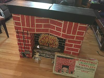 Vintage 1960's Electric Cardboard Christmas Fireplace