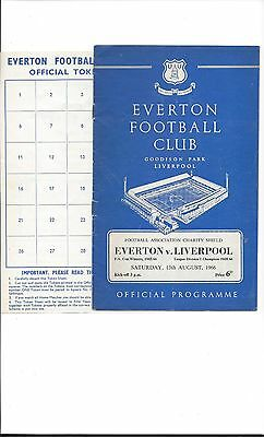 FA CHARITY SHIELD PROGRAMME 1966 Everton v Liverpool plus Unused Token Sheet