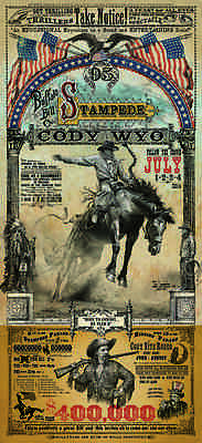 Original Cody Wyoming Rodeo Poster Bob Coronato Bronc old Vintage Cowboy Style