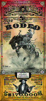 Deadwood Days of 76 Rodeo Poster Bucking Horse Bob Coronato Vintage Cowboy Style