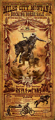 Miles City Montana Bucking Horse Sale cowboy Rodeo Poster signed by Bob Coronato