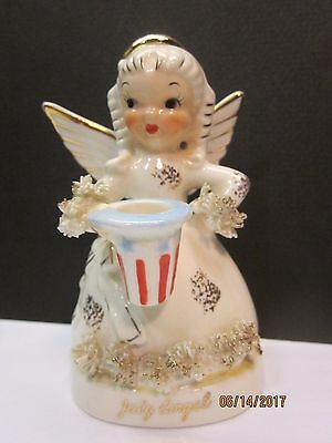 Vintage 1950 NAPCO Porcelain Spaghetti JULY ANGEL w Patriotic Hat Red White Blue