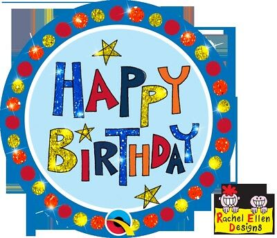 Rachel Ellen Designed-Happy Birthday Multi-Coloured Big Badge