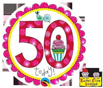 Rachel Ellen Designed-Age 50/50Th  Perfect Pink Big Badge