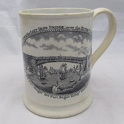 Antique Early-Mid 19Th Century Frog Mug Bridge Over River Wear Sunderland