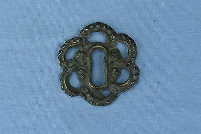 Antique FANCY VICTORIAN CAST BRASS KEY HOLE COVER ESCUTCHEON HARDWARE OLD #03742