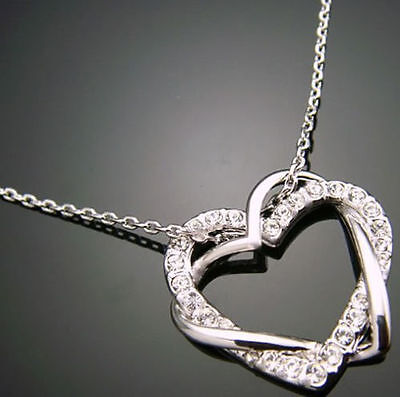 Genuine 18K White Gold Solid  925SILVER Pendant Chain Necklace Party Gift