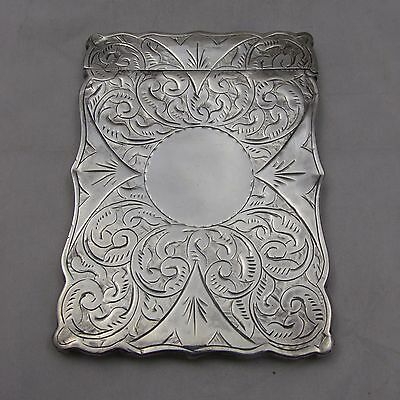 ANTIQUE VICTORIAN SILVER CARD CASE HILLIARD THOMASON c1880