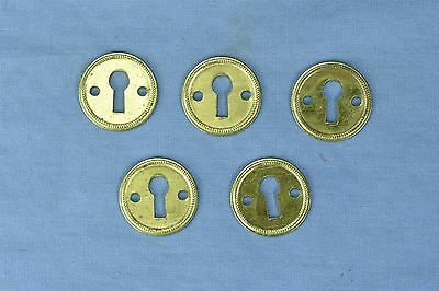 Vintage LOT 5 ROUND BRASS KEY HOLE COVERS ESCUTCHEON HARDWARE NOS UNUSED #03774