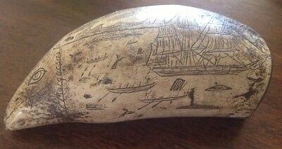 """Scrimshaw Faux Whale Tooth """"The Whaler Young Phoenix"""" """"Marquesas"""" 5 1/2"""""""