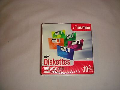 Imation Neon IBM Formatted 2HD Diskettes Disks Pack Of 10 New And Sealed