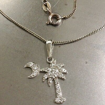 South Carolina State Emblem Necklace Sterling Silver Palmetto & Crescent Moon