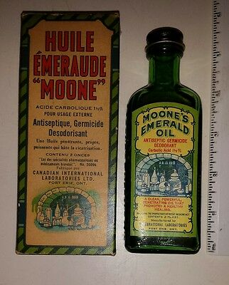 "Rare Canadian (Fort Erie, Ont) ""moone's Emerald Oil"" Green Glass Bottle & Box"