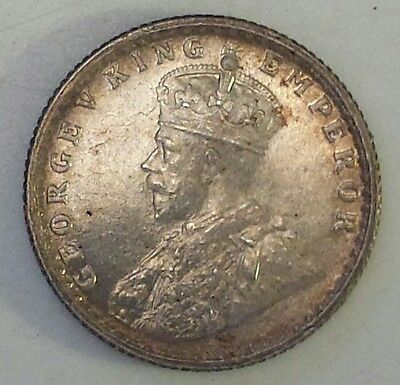 """1916 India 1/4 Rupee"" Silver (.917) Coin Au - Ms Condition - Not Prof. Graded"