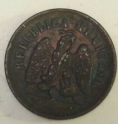"Rare Mexican ""1888 Mexico 1 Centavo""  Copper  Coin - Vf Condition"