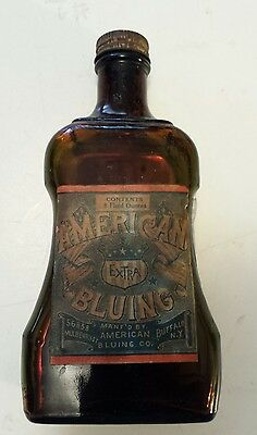 "Rare American(Buffalo, N.y.) ""american Bluing - Extra"" 8 Oz Brown Shaped Bottle"