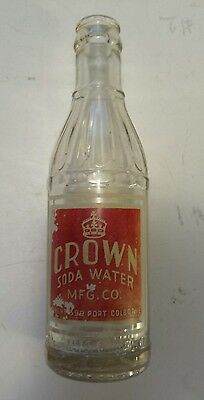 """Rare Canadian (Port Colborne, Ont) """"crown Soda Water"""" 6 Oz Embossed- Red & White"""