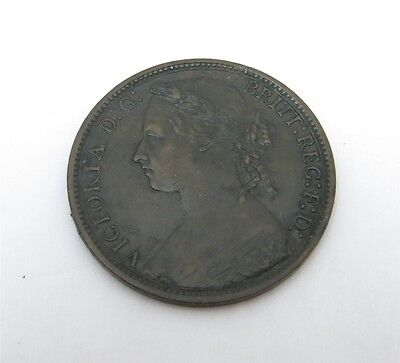 1876 H Great Britain Penny Large Date Bronze Coin KM-755