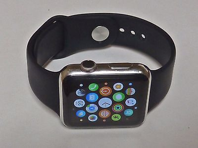 Apple Watch MJ3U2LL/A STAINLESS STEEL 42mm with black band - WORKS PERFECTLY