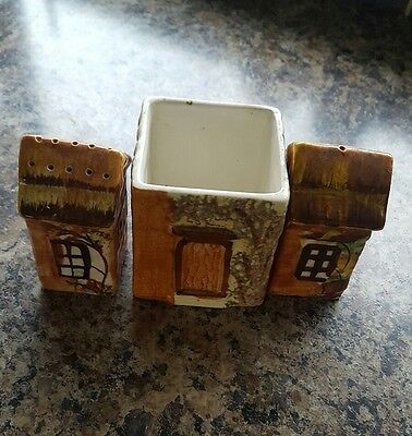 Little English cottages salt and pepper pots and Mustard pot (or Marmalade)