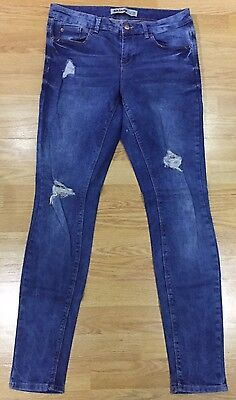 New Look Blue Washed Ripped Skinny Jeans Size W12  L32