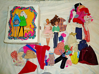 Vintage 1968 World Of Barbie Vinyl Carrying Case with Clothes Wardrobe Suitcase