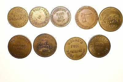 Parking Tokens ~ Tacoma, Yakima, Oil City, Clarksville, Tenn, / Farmington, Mich