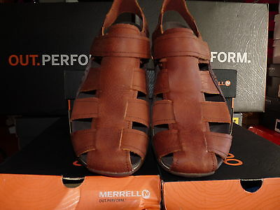 Mens Merrell brown soft leather sandals (bask fisher) uk size 12