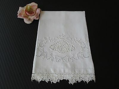 Antique Italian Linen W/ Point De Venise Lace Insert Guest/show Towel