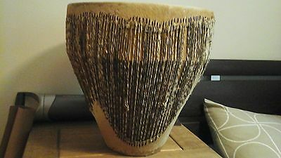 Vintage Large African Tribal Drum - Animal Skin Drum