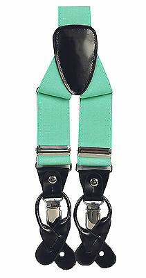 "Mens 1 3/8"" Button & Clip Leather Patch Convertible Suspenders_12 COLORS"