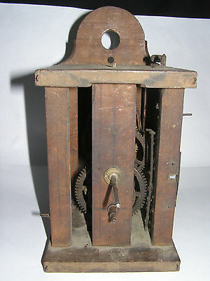 Antique German Wood Framed Clock Movement early c 1820 or earlier spares repair