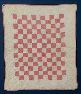 """Antique Doll Or Cradle Quilt, Double Pink & White, """"one Patch"""""""