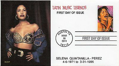 4499,Selena Perez , 2011 stamp,Latin Music Legends,in Halter Top by ROMP cachets