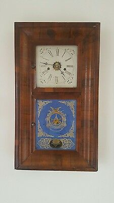 Antique American 8 day wooden cased wall clock
