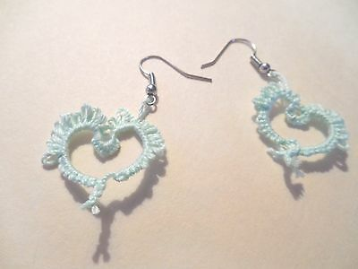 TATTED Earrings Mint Green Heart Light NEW by  Dove Country Tatting