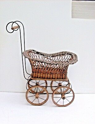 Antique Victorian 1800's Ornate Wicker Doll Stroller Carriage In Wicker