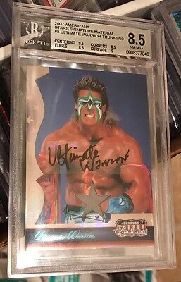 Ultimate Warrior Signed Americana Auto Trunks Card /50! Bgs 8.5 W 10 Au! Rare 10