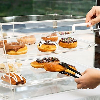 2 Tray Choice Bakery Display Case Front Rear Door Donut Pastry Hotel Store Cafe
