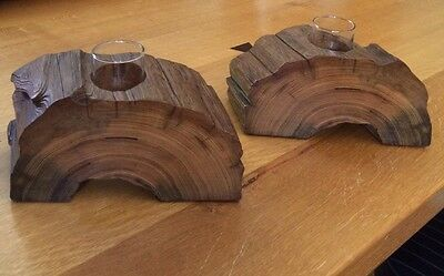 Pair Handcrafted Candle Holders From 100+ Year Old Solid Cypress Wood