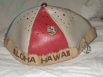 Vintage Childs ALOHA HAWAII Cap Hat Kids Beanie With Charms Faux Leather