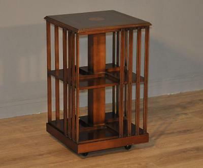 Attractive Vintage Inlaid Yew Wood Revolving Floor Standing Bookcase