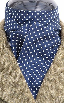 Ready Tied Navy Blue & White Pin Dot Cotton Riding Stock - Dressage Hunting Show