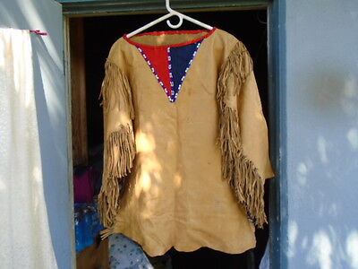 Vintage Native American Jacket Leather with  Beads