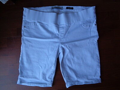 New Look White Under Bump Cropped Maternity Denim Jeans Shorts Size 18