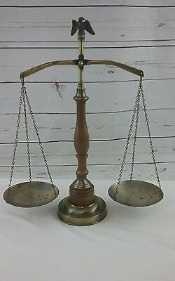 Vintage Scale of Justice Brass Apothecary Scale with Eagle and Wood Middle 70's