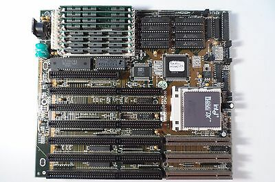 Vintage Used Intel DX4 Motherboard w/i486 DX-33 & Full Bank of RAM