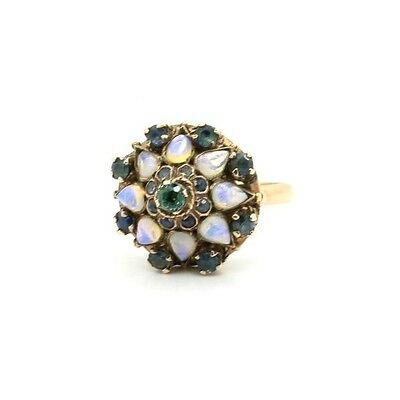 Vintage Retro Ring in 8k Rose Gold, with Emeralds & Moonstone